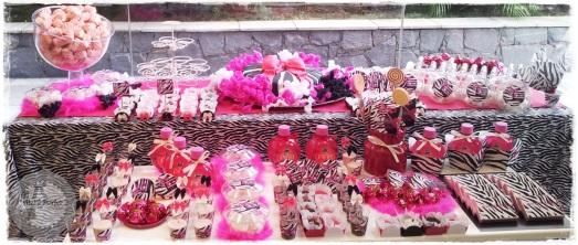 Mesa de doces festa pink e zebra