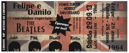Convite de aniversário Beatles